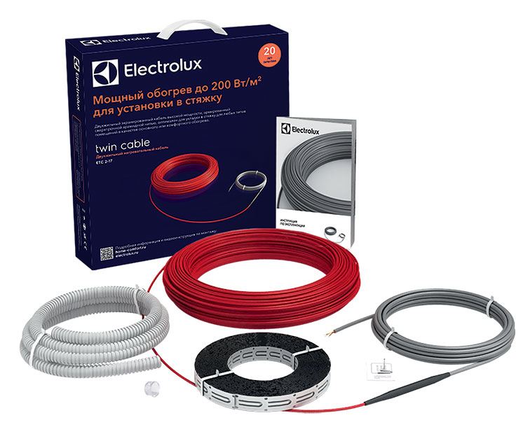 Комплект нагревательной секции теплого пола Electrolux ETC 2-17-1500 (7,5-12,5 м2) серии Twin Cable
