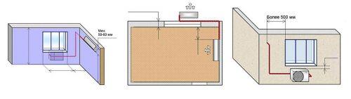 Схема № 4 монтаж настенной сплит-системы трасса до 5-ти метров